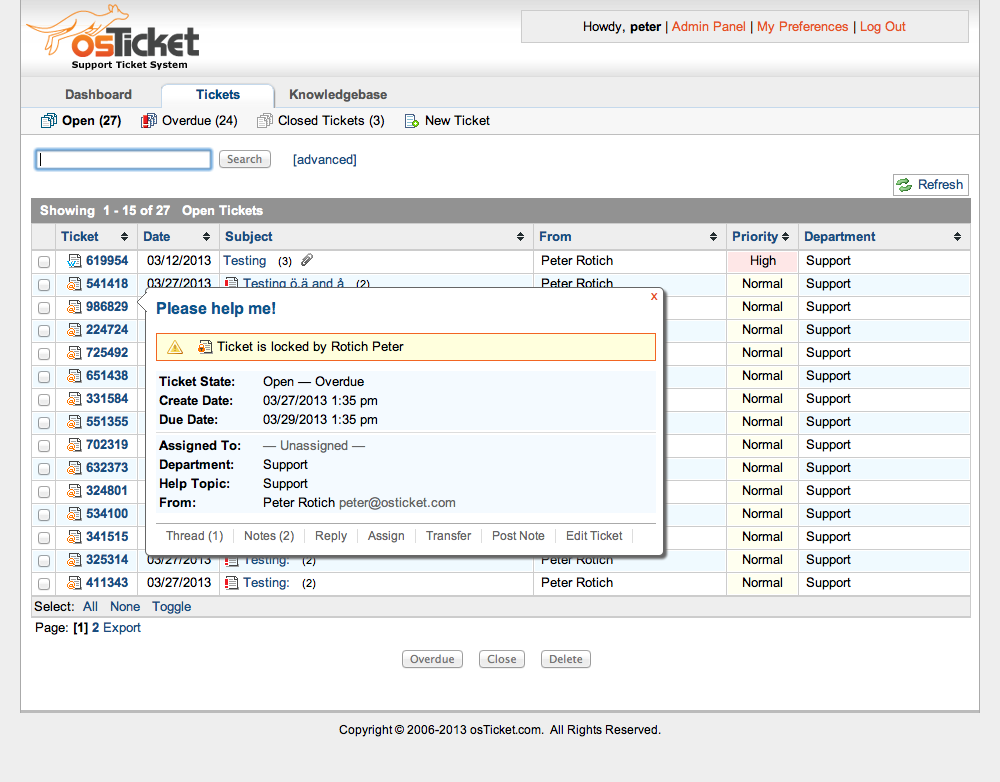 osTicket Admin Demo - Lock Tickets Feature
