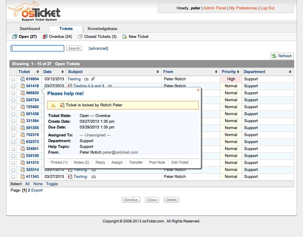 osTicket Admin Demo - Lock Tickets Feature