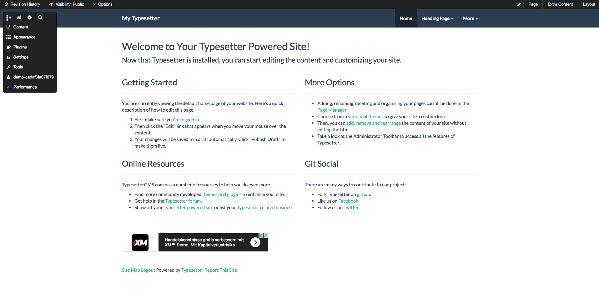 tpyesettercms demo preview