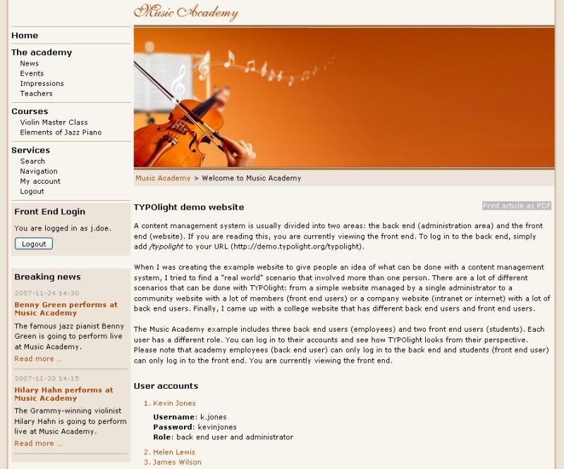 TYPOlight CMS Theme Example