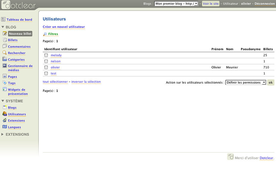 Dotclear Admin Demo User Management