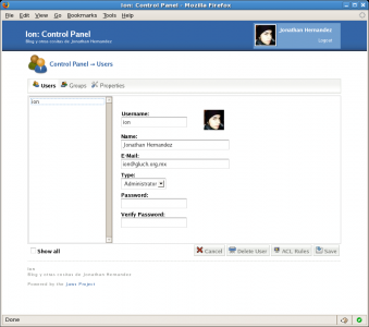 Jaws CMS Admin Features - User Management