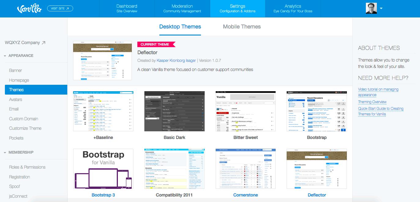 Vanilla Forums Themes - Admin Options