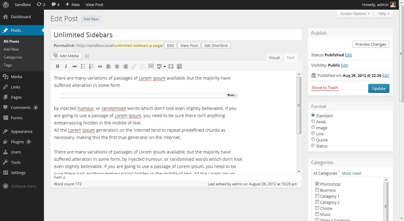 Wordpress Admin Panel - Add New Post