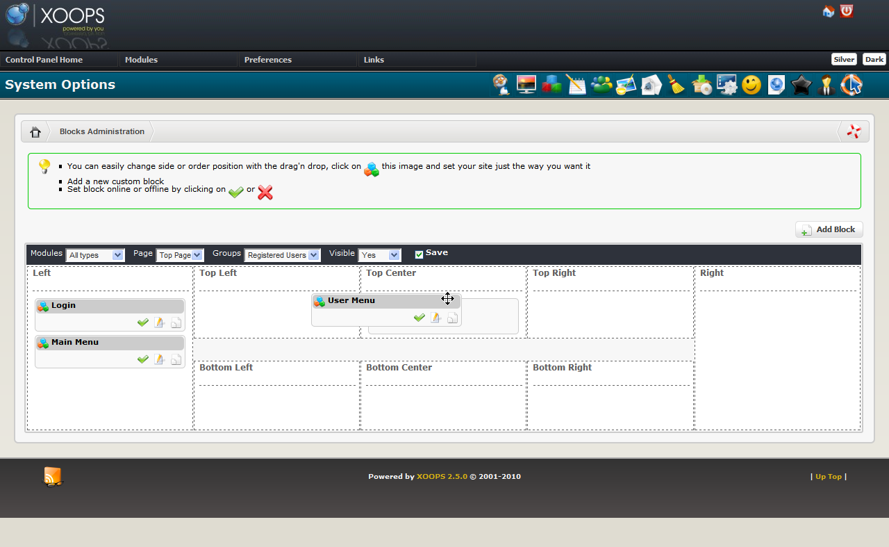 Xoops CMS Admin Preview