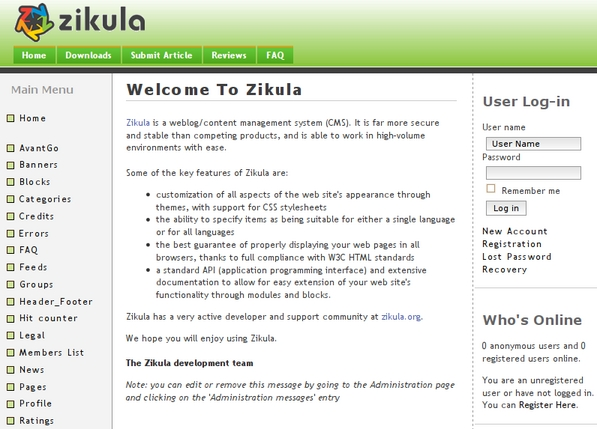 Zikula CMS Theme Example
